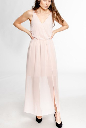 Rut & Circle Wrap Long Dress Pastel Pink