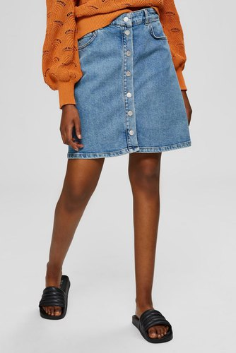 Selected Femme Slfrose Mw Denim Skirt Blue Denim