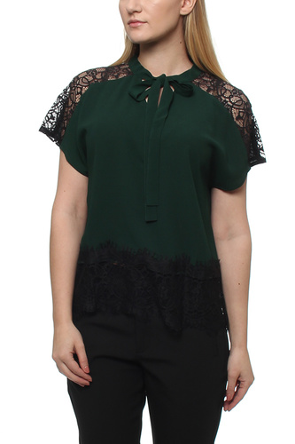 Maisy Ss Blouse Green/black