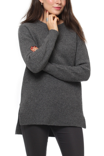 Selected Femme SFCARNE LS KNIT O-NECK MEDIUM GREY MEL