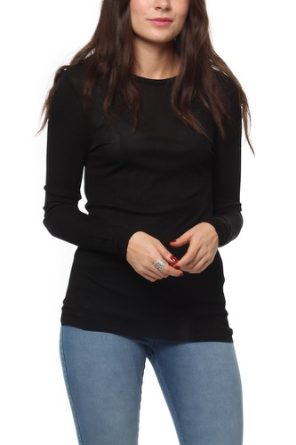 Selected Femme Sfwei Ls O-neck Top Black