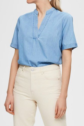 Selected Femme Slfjoy Ss Top W Light Blue