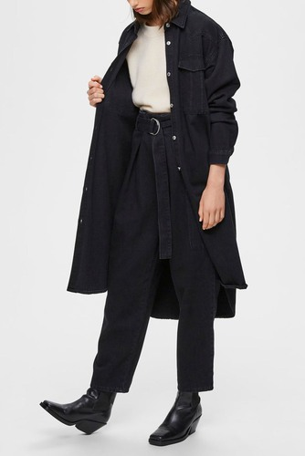 Selected Femme Slfdora Ls Denim Long Shirt Black Denim