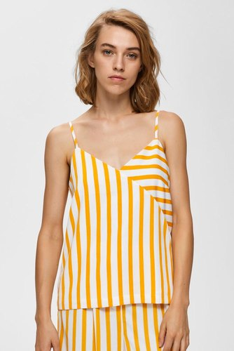 Selected Femme Slfdorit Strap Aop Top B Radient Yellow