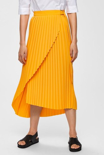 Selected Femme Slfmelly Mw Midi Skirt B Radiant Yellow