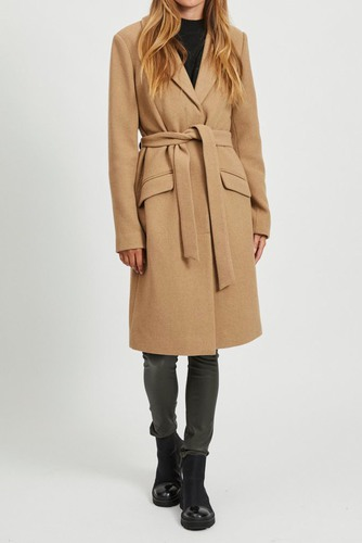 Vila Vivicki Wool Coat Tigers Eye