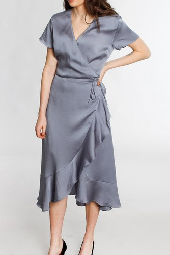 Neo Noir Magga Solid Dress Dusty Blue