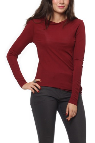 Selected Femme Sfwei Ls O-neck Top Syrah