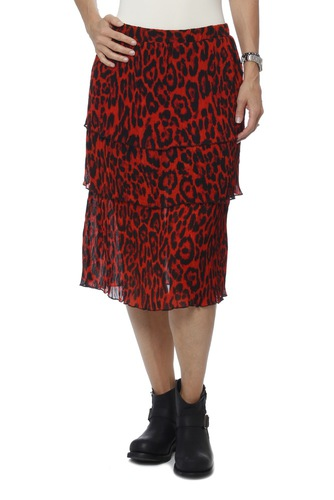 Rut & Circle Layer Pleat Skirt Red Comb