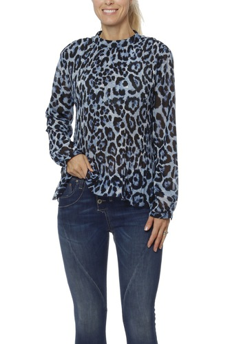 Rut & Circle High Neck Pleate Blouse Blue Comb