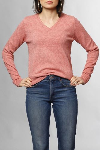 Vila Viril L/s V-neck Knit Top Brandied Aprico