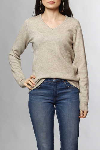Vila Viril L/s V-neck Knit Top Natural Melange