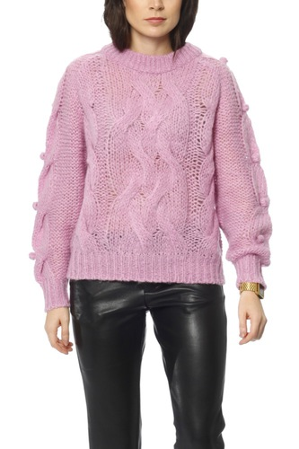 Selected Femme Slfama Ls Knit O-neck Ex Orchid