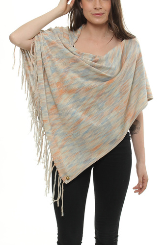 FINE KNIT PONCHO SPACEDYE BLUE