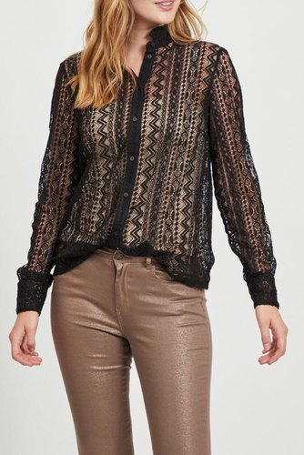 Vila Vijenna L/s Lace Shirt Black