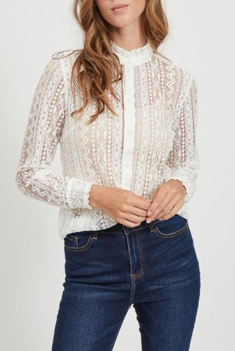 Vila Vijenna L/s Lace Shirt Cloud Dancer