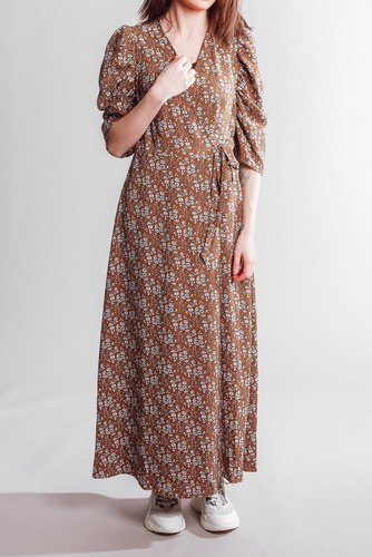 CO'COUTURE Eclipse Flower Wrap Dress Cognac