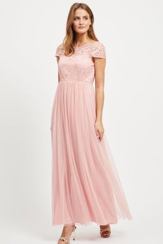 Vila Viulricana S/s Maxi Dress Bridal Rose