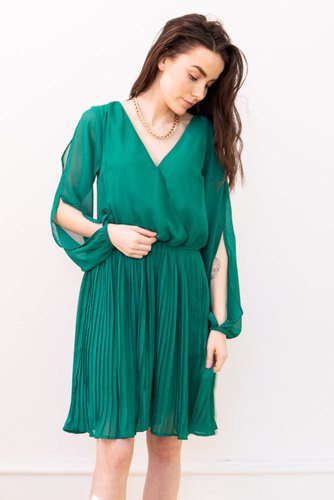 Rut & Circle Wrap Pleat Dress Preppy Green
