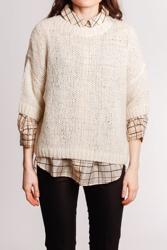 Selected Femme Slfmellow 2/4 Knit O-neck Birch