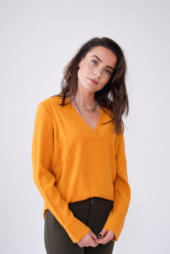 Vila Vilaia L/s V-neck Top Golden Oak