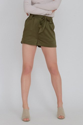 Rut & Circle Satin Belt Shorts Khaki Green