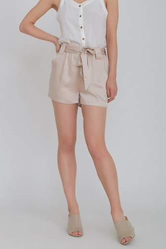 Rut & Circle Satin Belt Shorts Sand