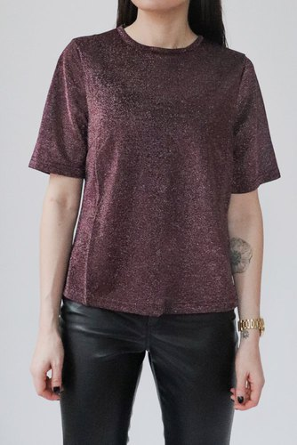 Rut & Circle Cortney Top Wine Red Lurex