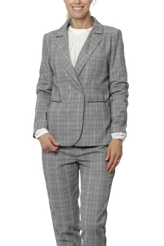 Rut & Circle Checked Blazer Grey Comb