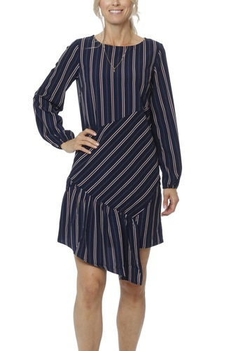 Vila Vinaeva Printed L/s Dress Dark Navy