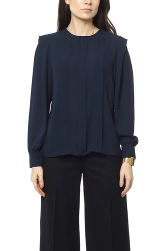 Selected Femme Slfchanelle Ls Pleated Dk Sapphire