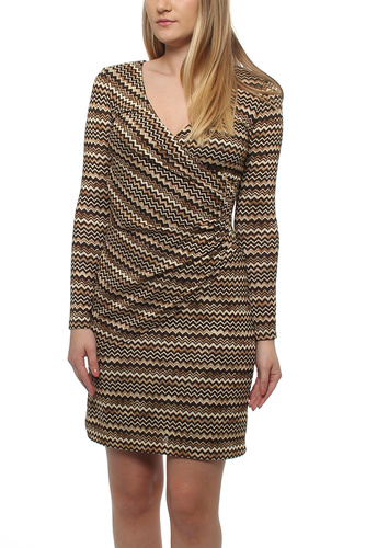 WAVY WRAP KNIT DRESS BROWN