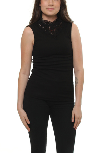 Vifalls Rib Lace Detail Black