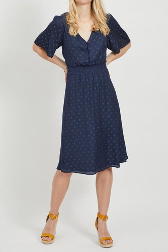 Vila Vieban S/s Midi Dress Navy Blazer