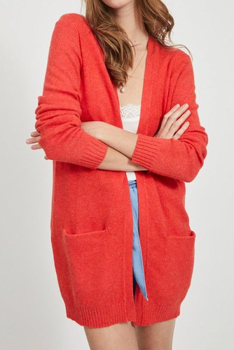 Vila Viril L/s Open Knit Cardigan Flame Scarlet
