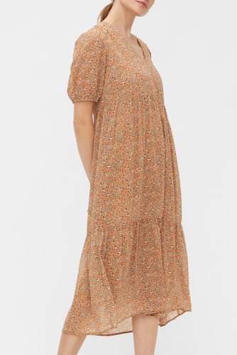 YAS Yasanemone Ss Long Dress Tawny Brown