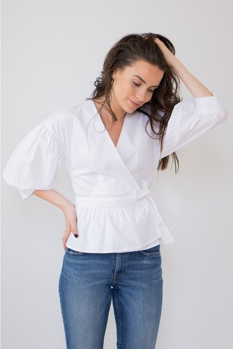 CO'COUTURE Wrap Poplin Shirt White