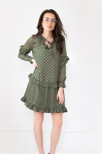 Neo Noir Abel Burnout Dress Army