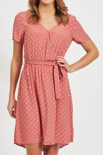 Vila Viprimera Wrap S/s Dress Dusty Cedar