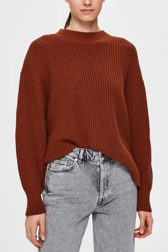 Selected Femme Slfbailey Ls Knit O-neck Smoked Paprika