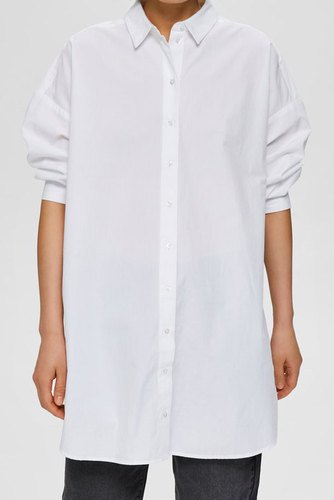 Selected Femme Slfami 7/8 Long Shirt W Bright White