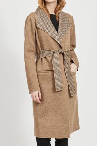 Vila Vijuice 2 In 1 Check Coat Natural Melange