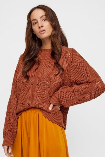 YAS Yasdalia Ls Knit Pullover Copper Brown