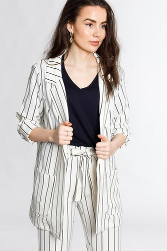 Rut & Circle Ofelia Striped Blazer White/black