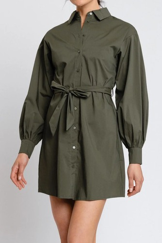 Rut & Circle Lucy Shirt Dress Army Green