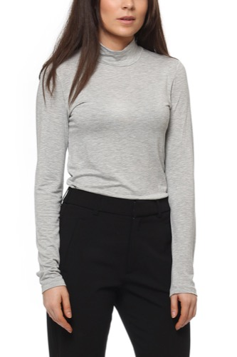 Selected Femme SFMIO LS HIGH NECK LIGHT GREY MEL
