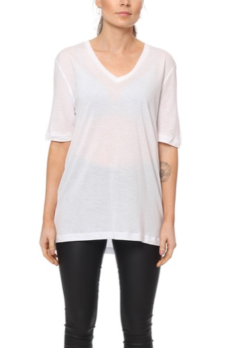 Selected Femme Sfvita 2/4 V-neck Tee Bright White