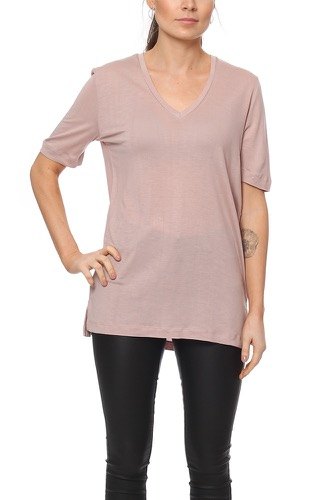 Selected Femme SFVITA 2/4 V-NECK TEE SHADOW GRAY