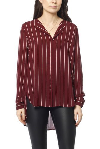 Selected Femme Sfdynella Stripe Ls Shirt Tawny Port