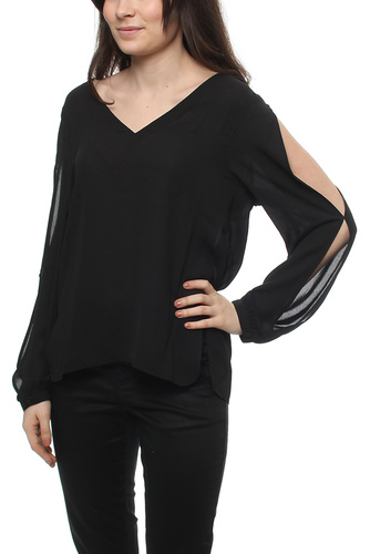 Aflie Sleeve Open Blouse Black